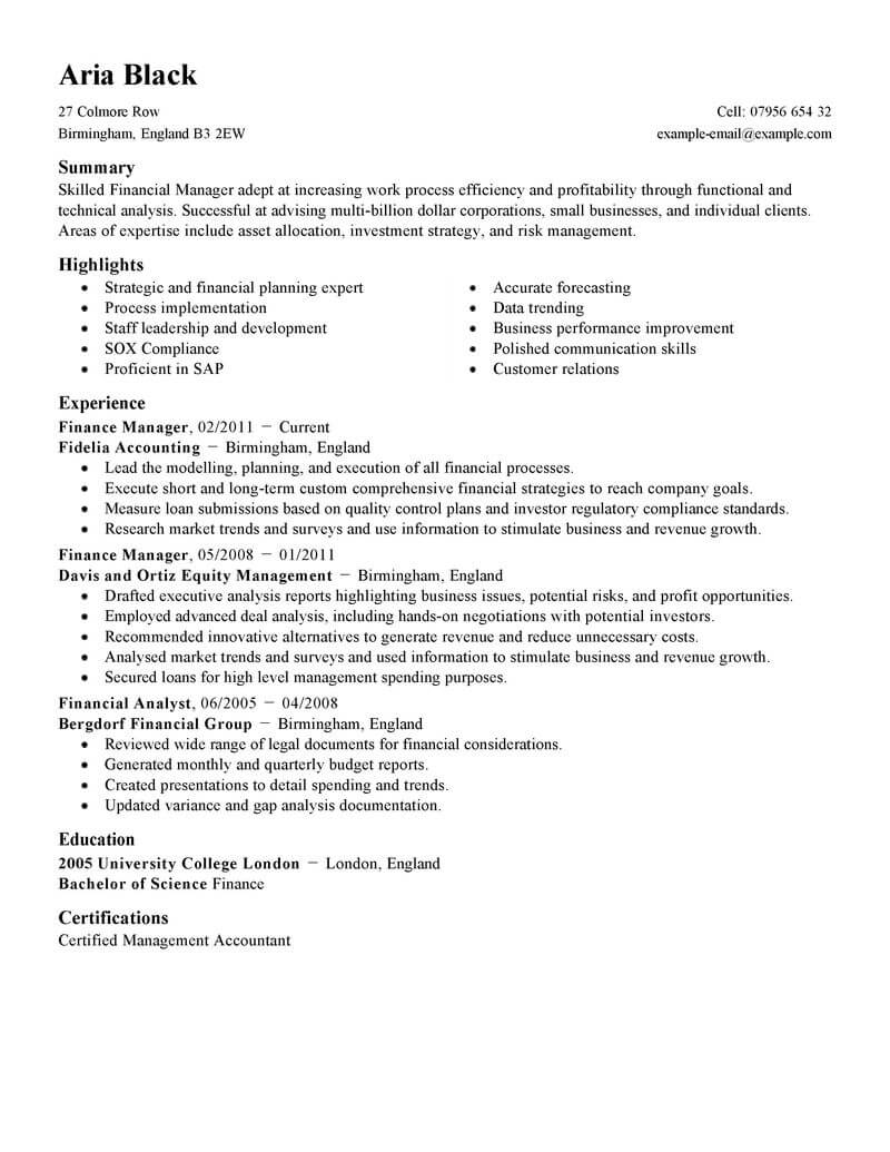 best finance manager resume example livecareer professional standard seminars and Resume Finance Professional Resume