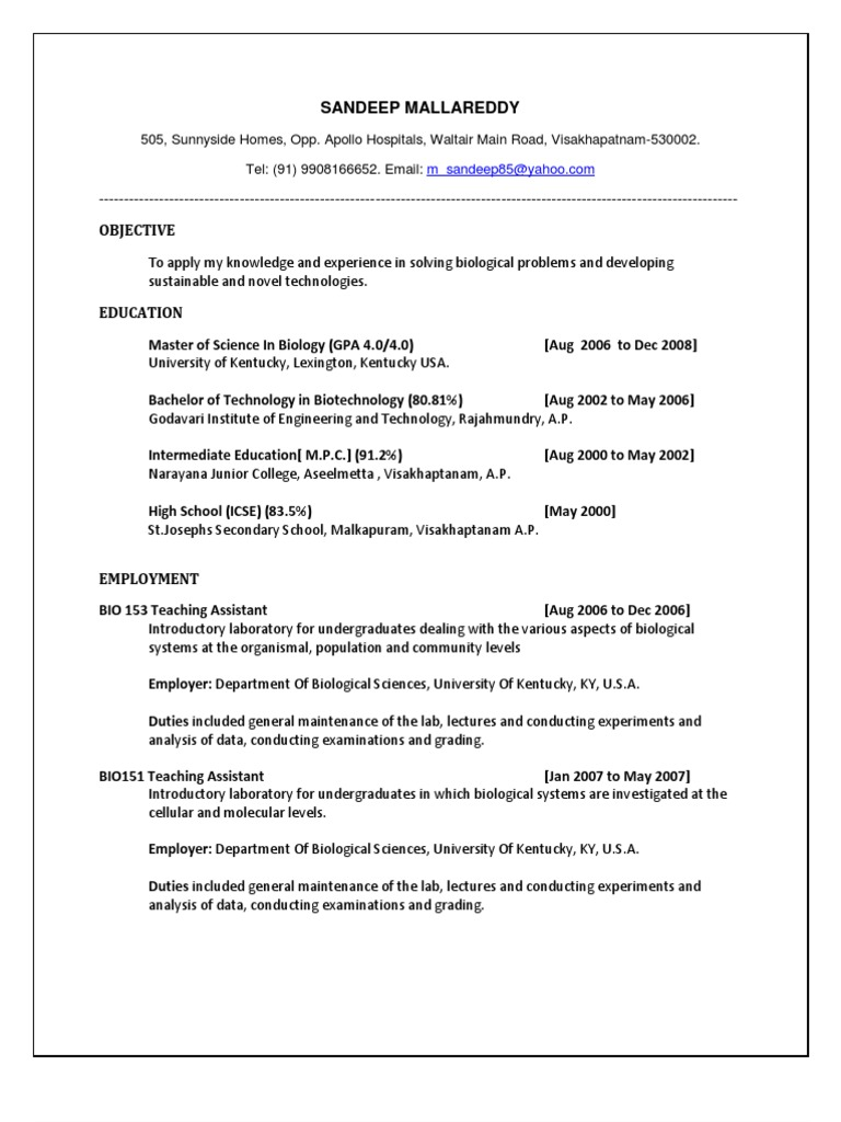 biotechnology resume samples fresh graduates best examples first facility operations Resume Best Biotechnology Resume