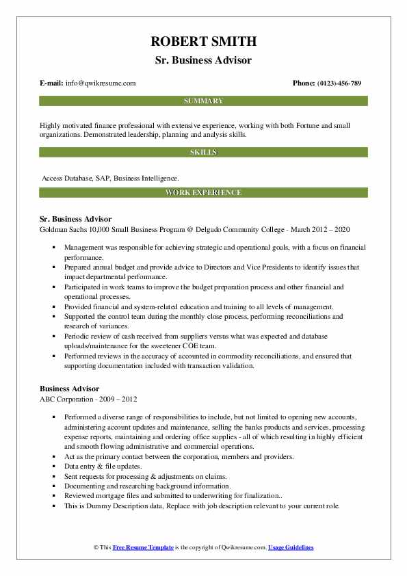 business advisor resume samples qwikresume small pdf supervisor responsibilities strong Resume Small Business Advisor Resume