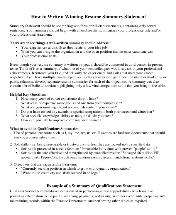 career summary examples pdf resume statement coaching cover letter car statements hpcl Resume Resume Statement Examples