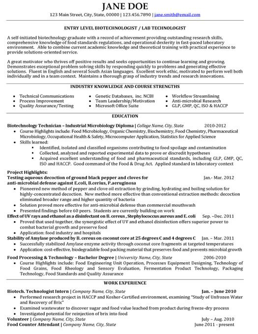 click here to this biotechnologist resume template http resumetemplates101 design Resume Best Biotechnology Resume