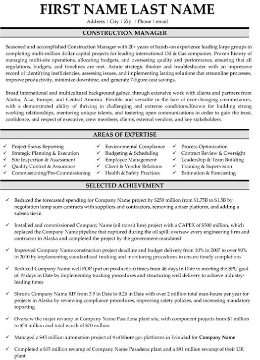 construction manager resume sample template project examples sap production planning Resume Construction Project Manager Resume Examples