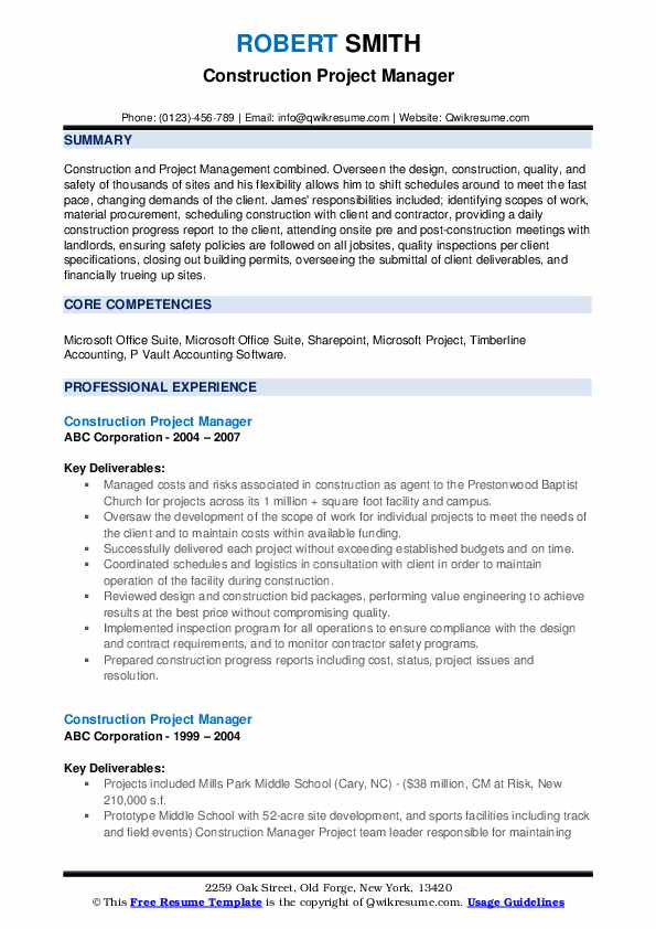 construction project manager resume samples qwikresume examples pdf typical college Resume Construction Project Manager Resume Examples