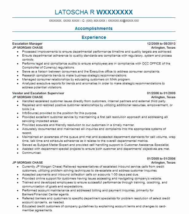 corporate escalation supervisor resume example comcast xfinity jacksonville engineer best Resume Escalation Engineer Resume
