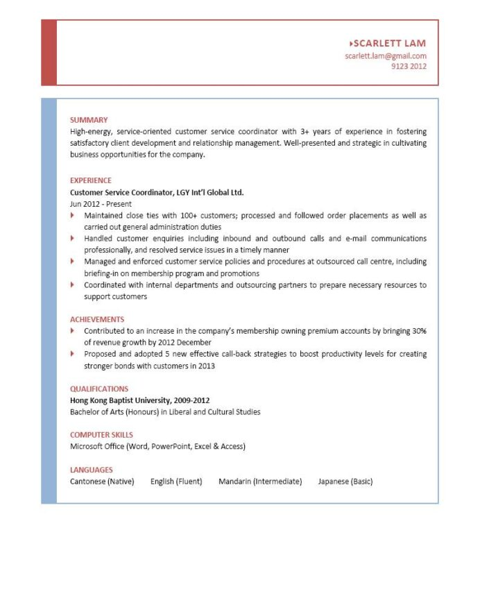 customer service coordinator cv ctgoodjobs powered by career times resume sample Resume Customer Service Coordinator Resume Sample
