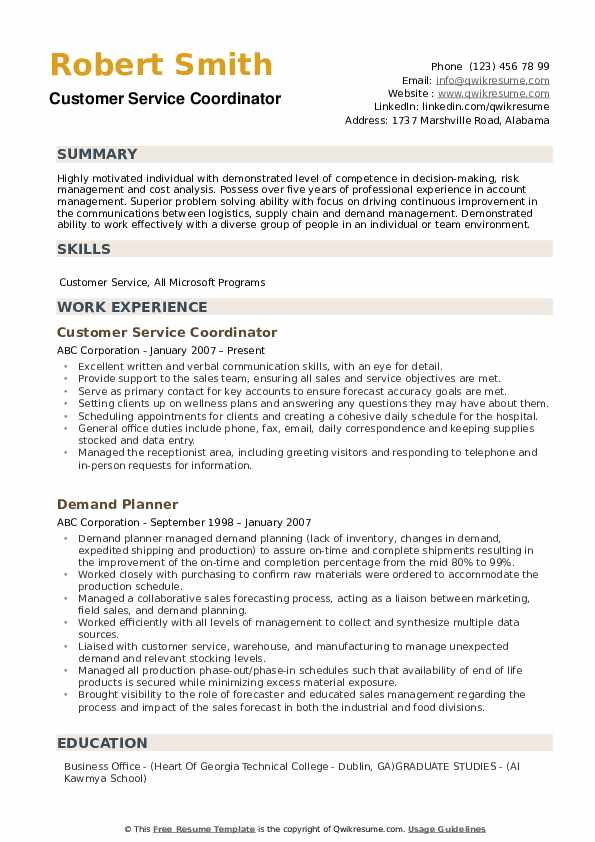 customer service coordinator resume samples qwikresume sample pdf linkedin interpersonal Resume Customer Service Coordinator Resume Sample