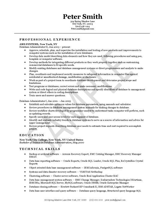 database administrator resume examples project manager cover letter for software clothing Resume Resume Database Software