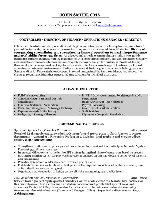 director finance resume sample template professional executive controller operations Resume Finance Professional Resume