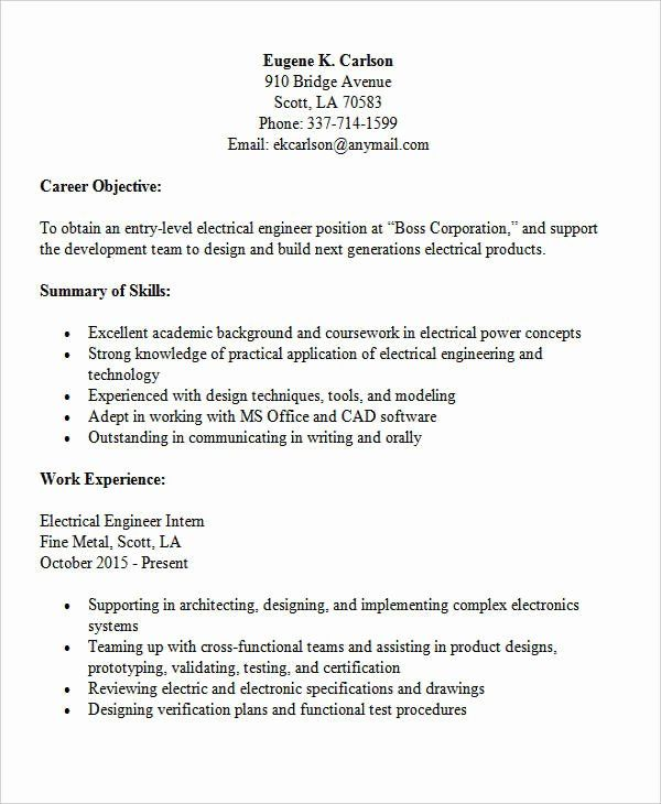 entry level electrical engineer resume unique modern engineering templates sample Resume Entry Level Electrical Engineer Sample Resume