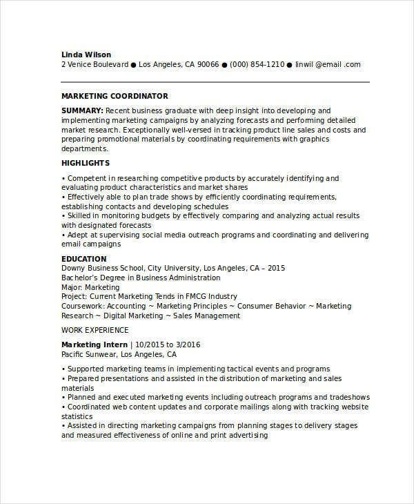 entry level marketing coordinator resume samples for successful job hunters it is Resume Marketing Coordinator Resume Template