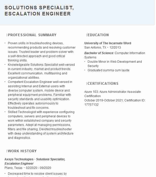 escalation engineer resume example 3par an hp company city second job examples facility Resume Escalation Engineer Resume