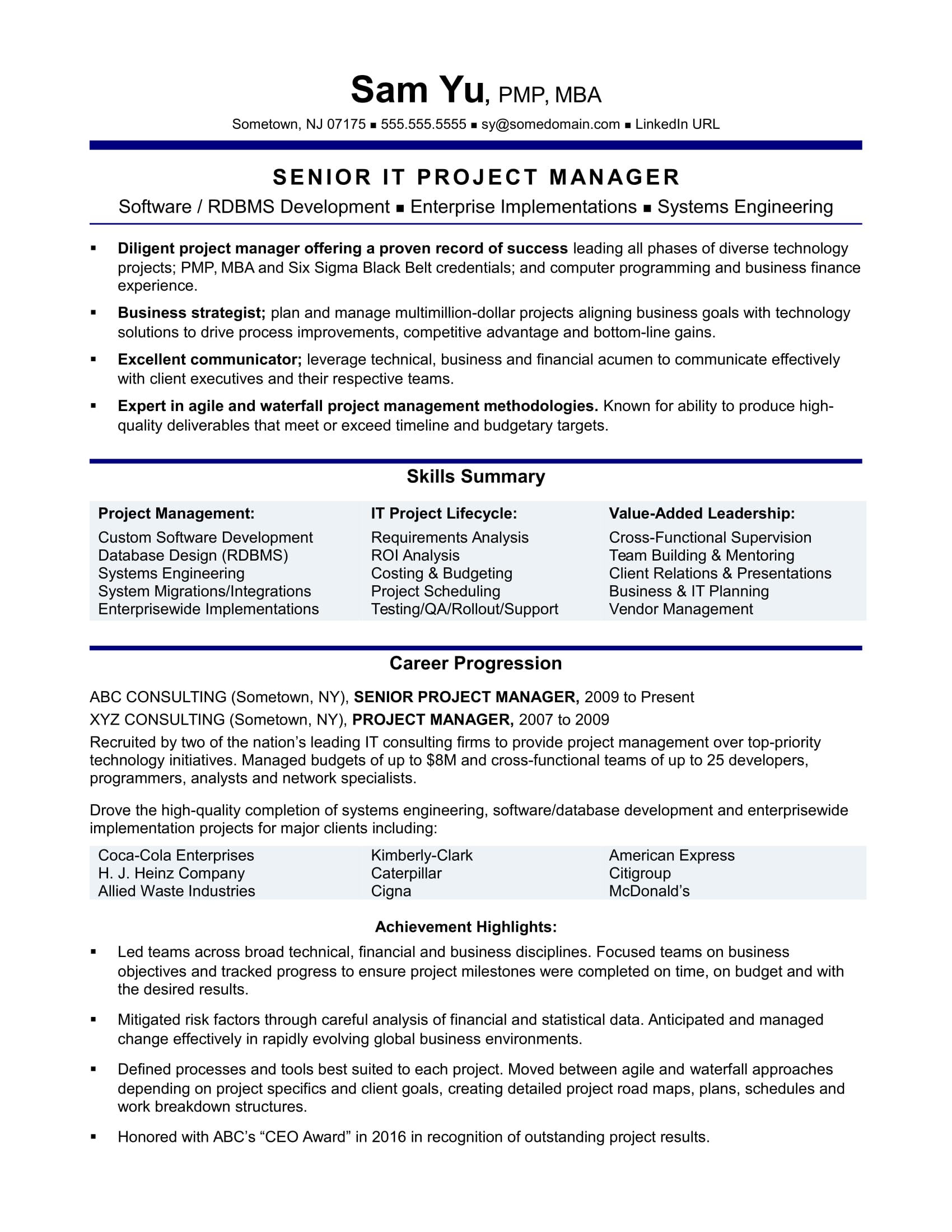 experienced it project manager resume sample monster management experience format for Resume Project Management Experience Resume