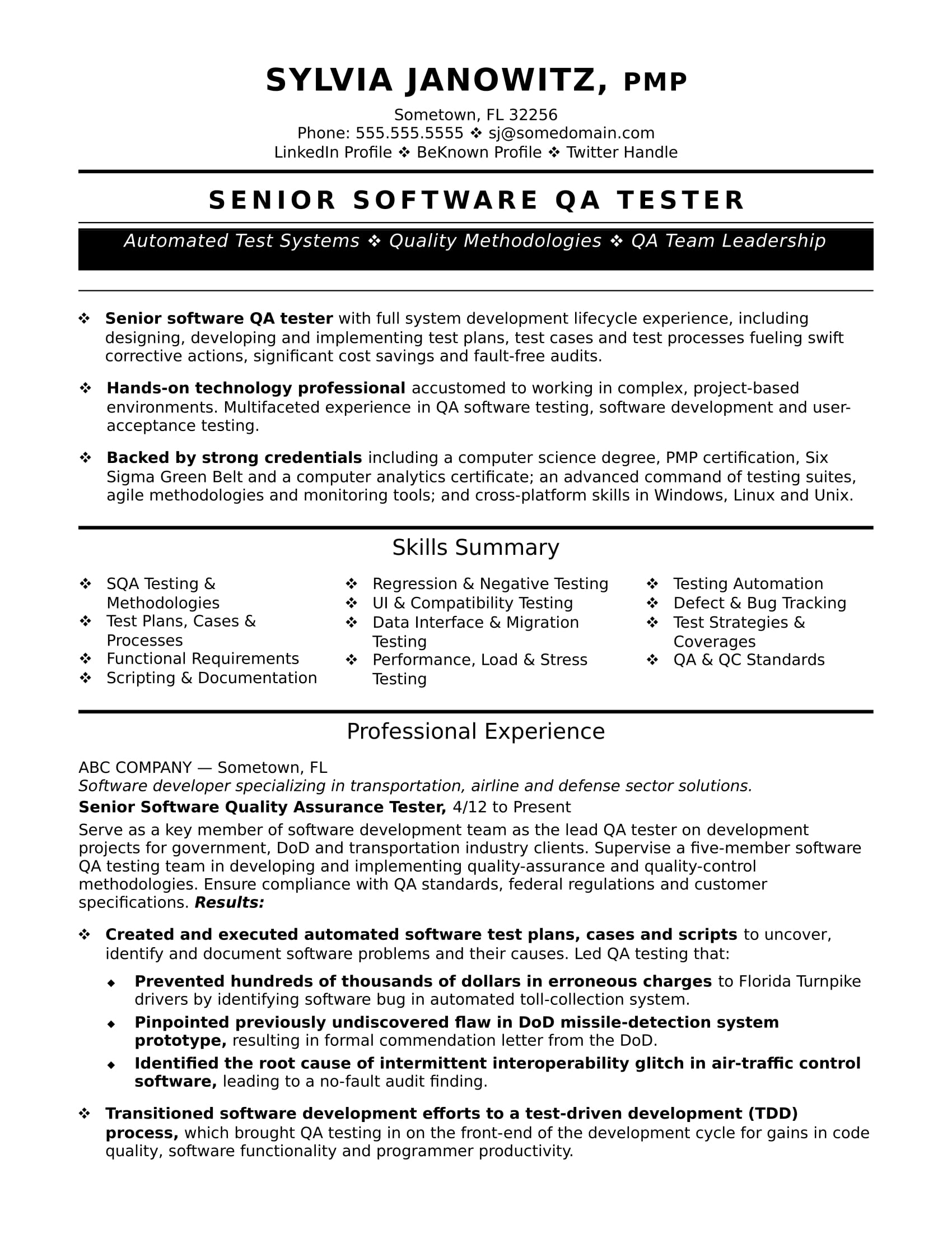 experienced qa software tester resume sample monster examples for quality control mergers Resume Resume Examples For Quality Control