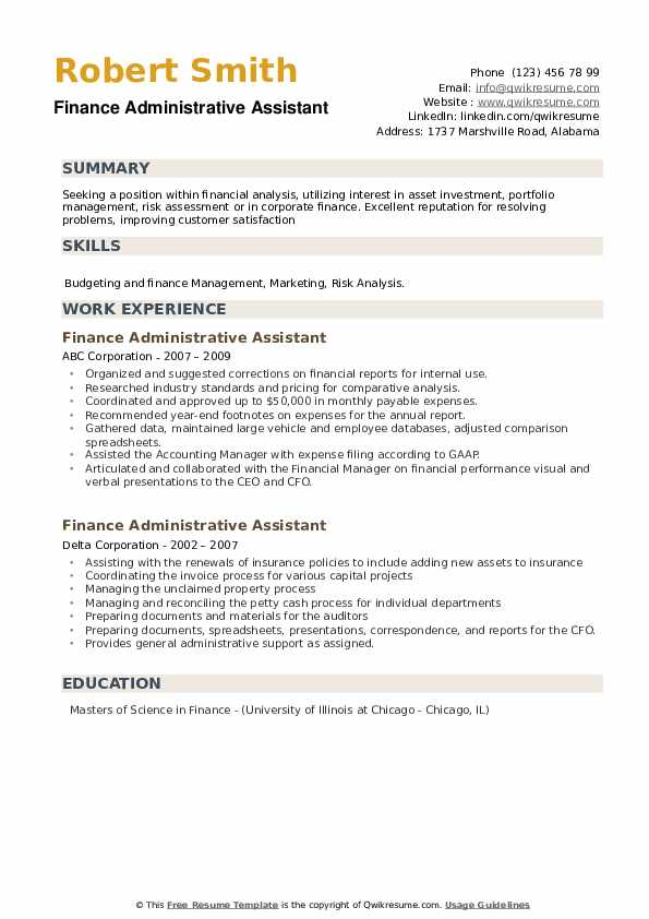 finance administrative assistant resume samples qwikresume admin summary examples pdf Resume Admin Assistant Resume Summary Examples