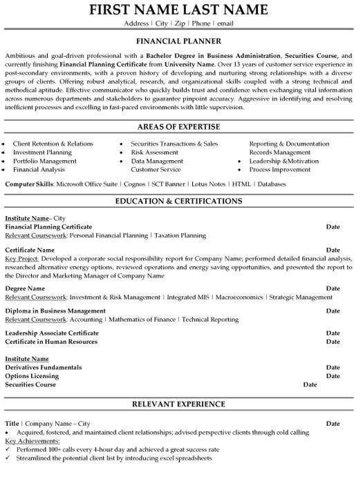financial planner resume sample template finance skills section fi high school examples Resume Finance Resume Skills Section