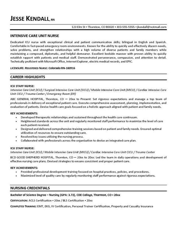 free icu intensive care unit nurse resume example registered nursing rn objective Resume Objective Statement For Nurse Resume