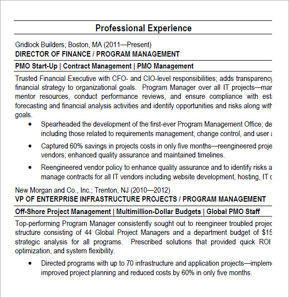 free project manager resume templates in pdf sample for pmo role program director Resume Sample Resume For Pmo Role