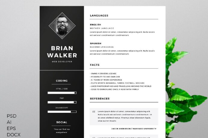 free resume template creativebooster illustrator for microsoft word photoshop and kpmg Resume Free Resume Illustrator Template