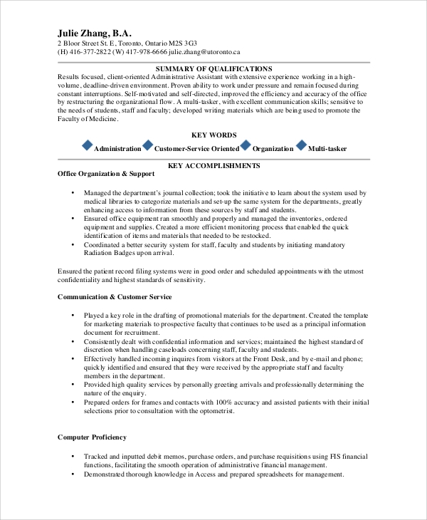 free sample administrative assistant resume templates in ms word pdf admin summary Resume Admin Assistant Resume Summary Examples