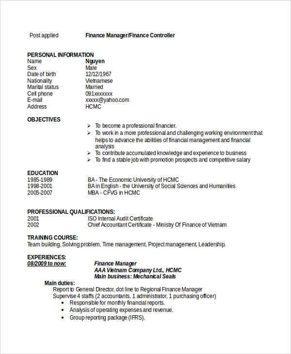 free sample finance resume templates in pdf ms word manager summary crossword layout Resume Finance Manager Resume Summary