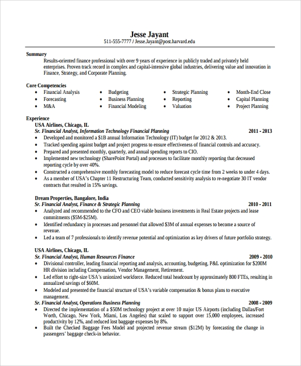 free sample finance resume templates in pdf ms word professional internship program Resume Finance Professional Resume