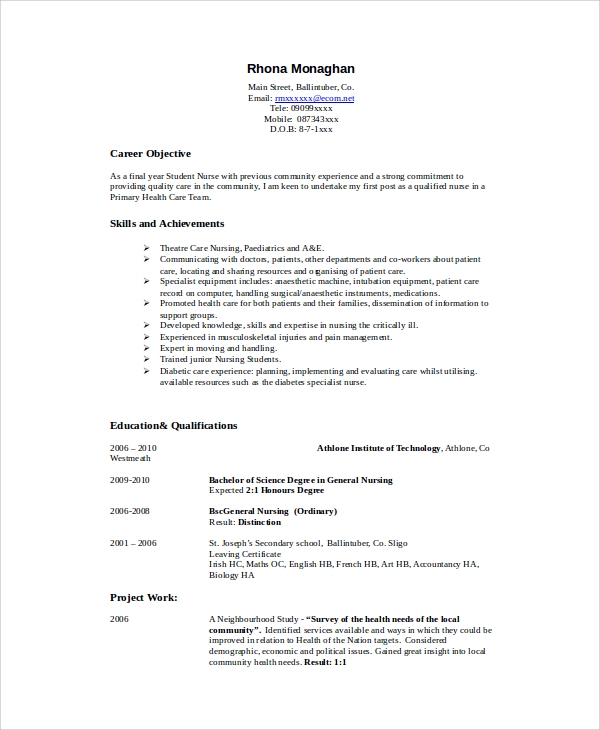 free sample nursing student resume templates in ms word pdf objective statement for nurse Resume Objective Statement For Nurse Resume