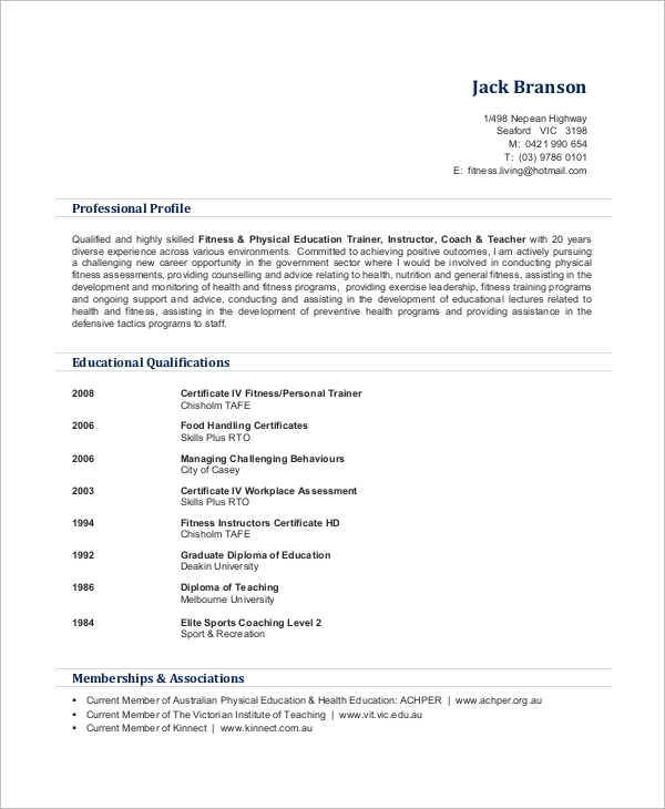 free sample personal trainer resume templates in ms word pdf certified partner marketing Resume Personal Trainer Resume Sample