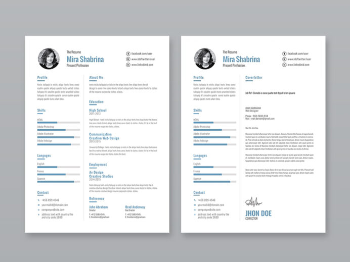 free simple illustrator resume template with cover letter and portfolio loss prevention Resume Free Resume Illustrator Template