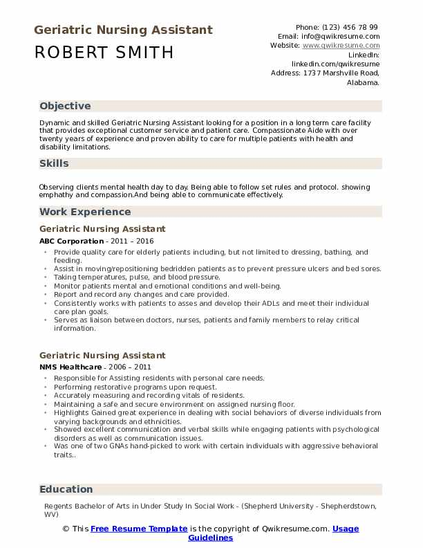 geriatric nursing assistant resume samples qwikresume duties for pdf another word Resume Nursing Assistant Duties For Resume