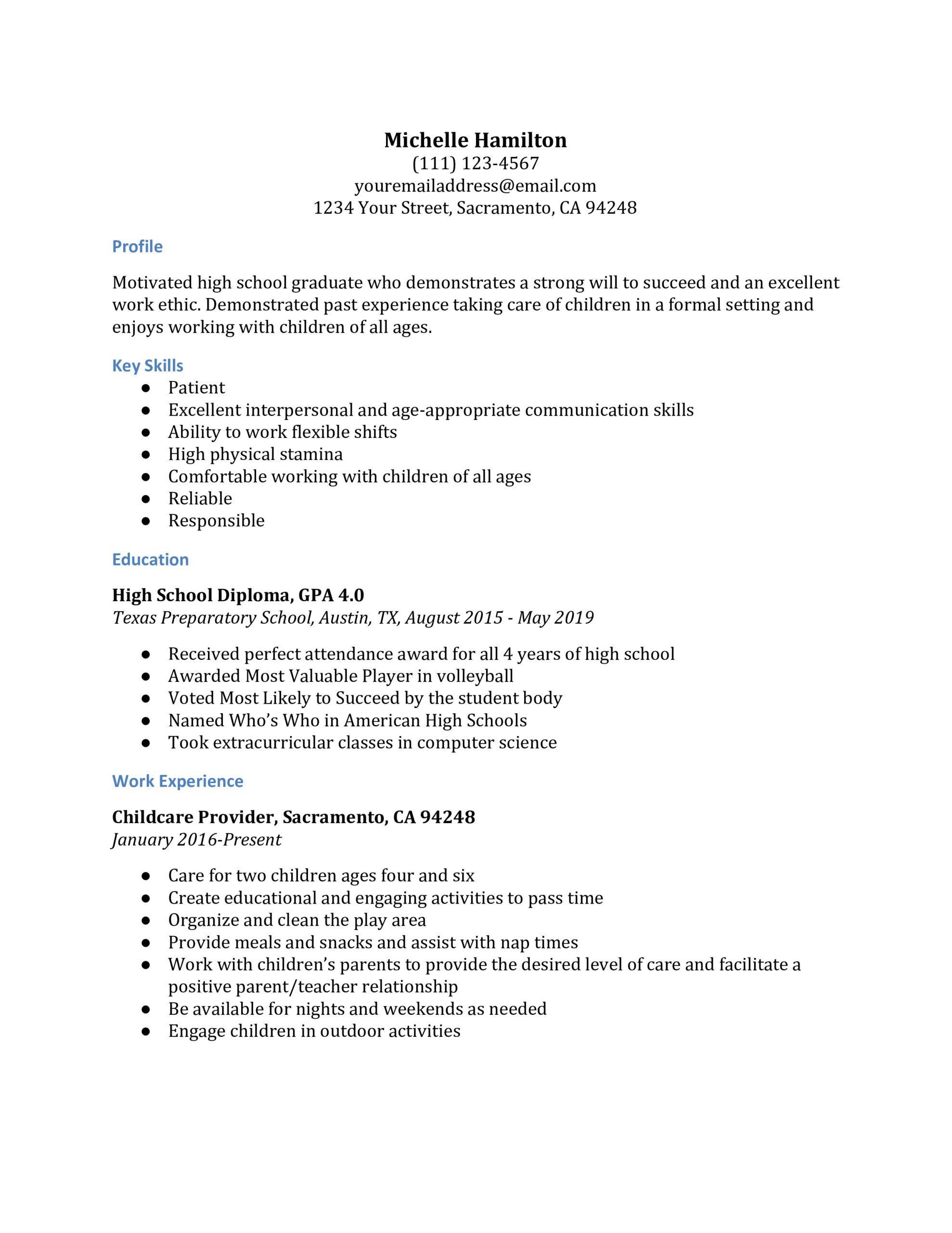 high school resume examples resumebuilder recent graduate for mba freshers udacity Resume Recent High School Graduate Resume
