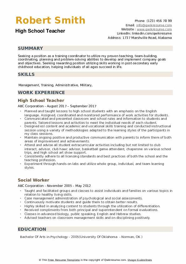 high school teacher resume samples qwikresume skills for pdf modern writing entry level Resume Skills For High School Resume