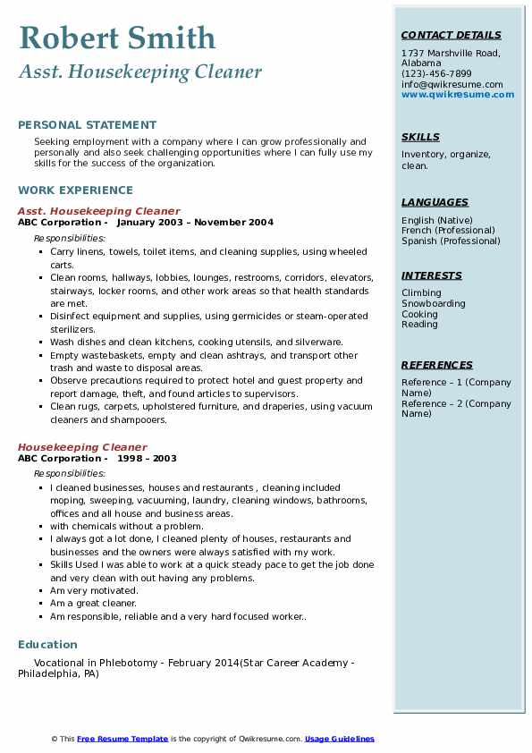 housekeeping cleaner resume samples qwikresume experience for pdf deli worker machine Resume Housekeeping Experience For Resume