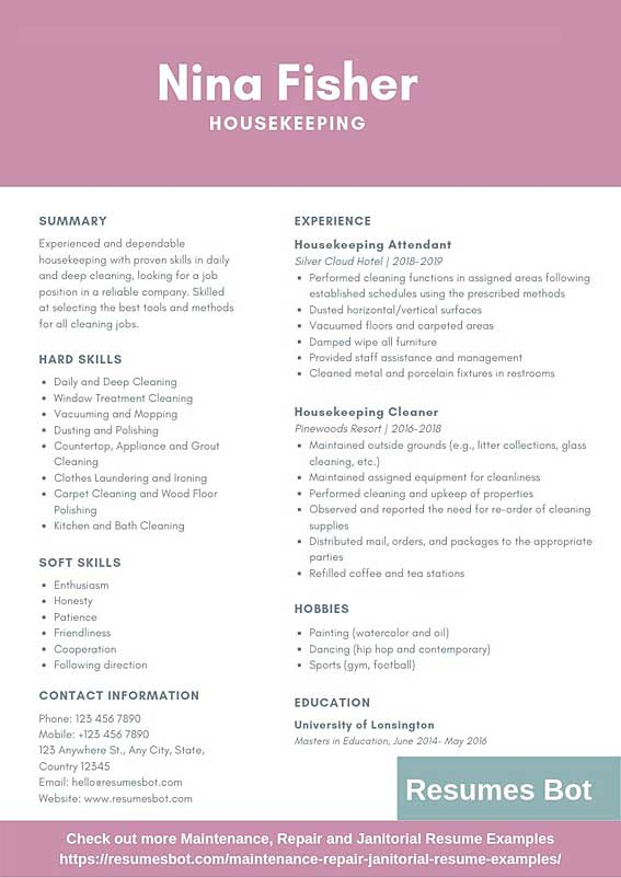 housekeeping resume samples templates pdf resumes bot experience for example deli worker Resume Housekeeping Experience For Resume