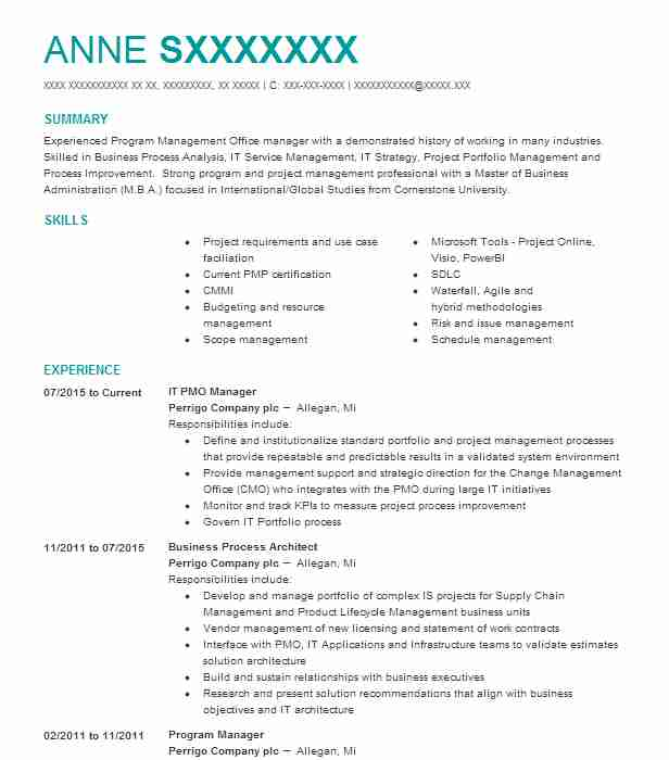 it pmo manager resume example company name sample for role data science freshers Resume Sample Resume For Pmo Role