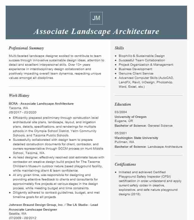 landscape architecture resume example company name clifton architect sample updating for Resume Landscape Architect Resume Sample