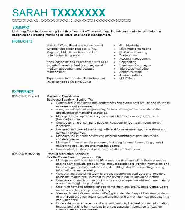 marketing coordinator resume example resumes template good templates for college students Resume Marketing Coordinator Resume Template