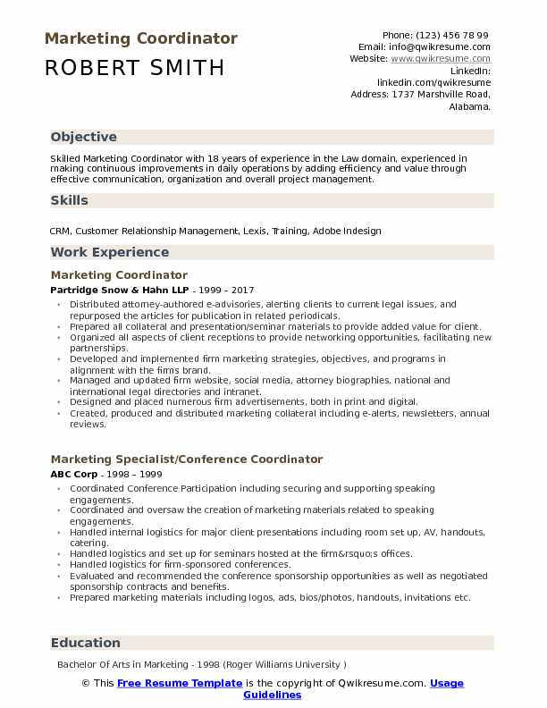 marketing coordinator resume samples qwikresume template pdf assembly worker clinical Resume Marketing Coordinator Resume Template