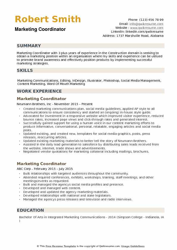 marketing coordinator resume samples qwikresume template pdf effective for experienced Resume Marketing Coordinator Resume Template