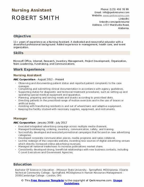 nursing assistant resume samples qwikresume duties for pdf current examples about Resume Nursing Assistant Duties For Resume