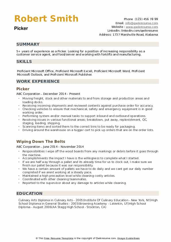 order picker resume examples warehouse selector pdf objective for first job learning Resume Warehouse Selector Resume