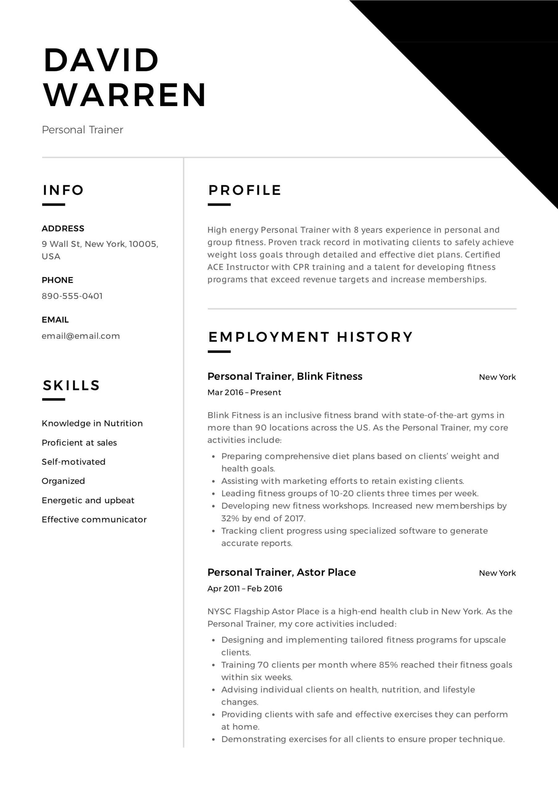 personal trainer resume event planner professional examples sample associates degree Resume Personal Trainer Resume Sample