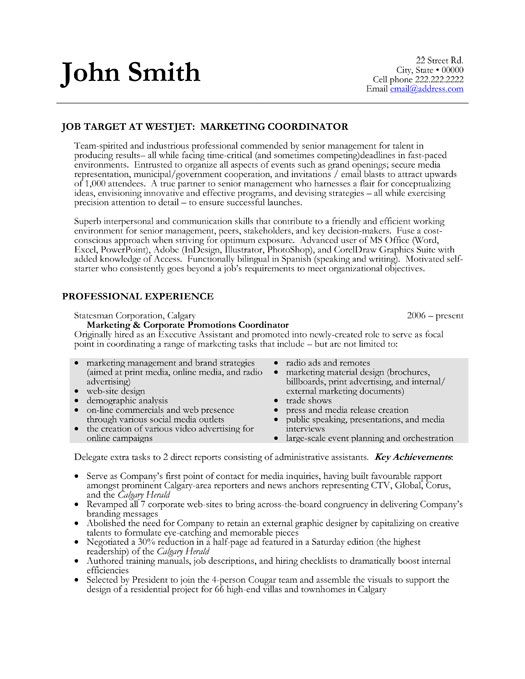pin by johzanne on best marketing resume templates samples sample examples coordinator Resume Marketing Coordinator Resume Template
