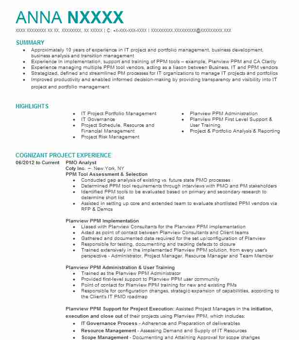 pmo analyst resume example management resumes livecareer sample for role cartel film Resume Sample Resume For Pmo Role