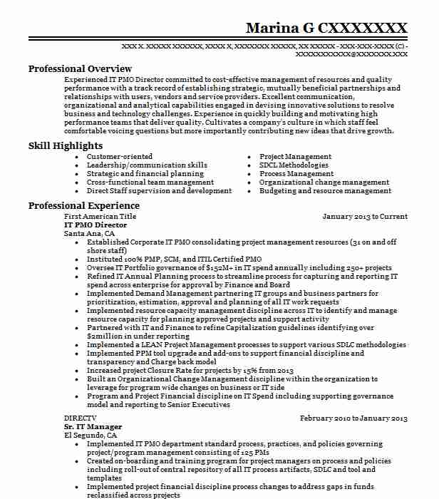 pmo director resume example company name phoenix sample for role siebel administrator Resume Sample Resume For Pmo Role