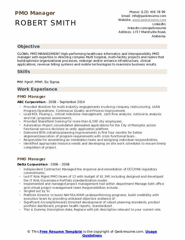 pmo manager resume samples qwikresume sample for role pdf marketing infographic federal Resume Sample Resume For Pmo Role