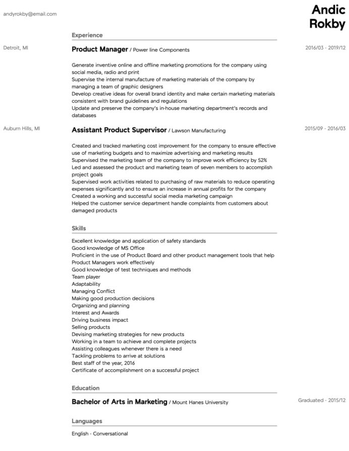 product manager resume samples all experience levels director of management intermediate Resume Director Of Product Management Resume