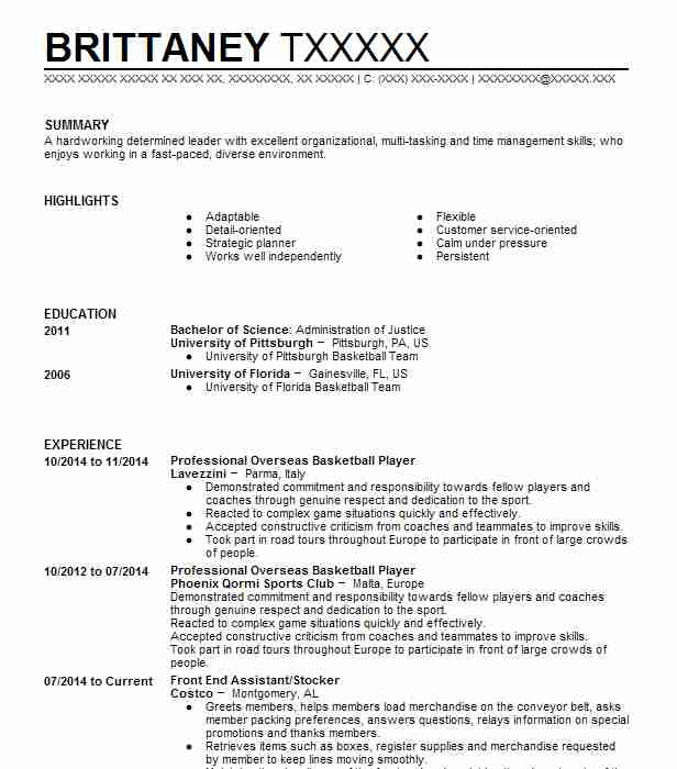 professional basketball player resume example company name city examples google Resume Professional Basketball Player Resume Examples