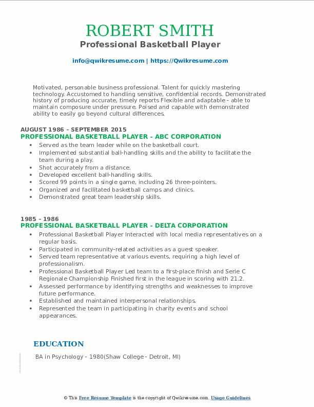 professional basketball player resume samples qwikresume examples pdf hca your if never Resume Professional Basketball Player Resume Examples