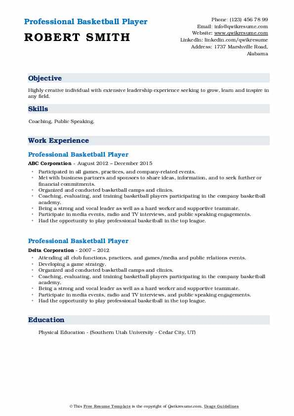 professional basketball player resume samples qwikresume examples pdf objective for Resume Professional Basketball Player Resume Examples