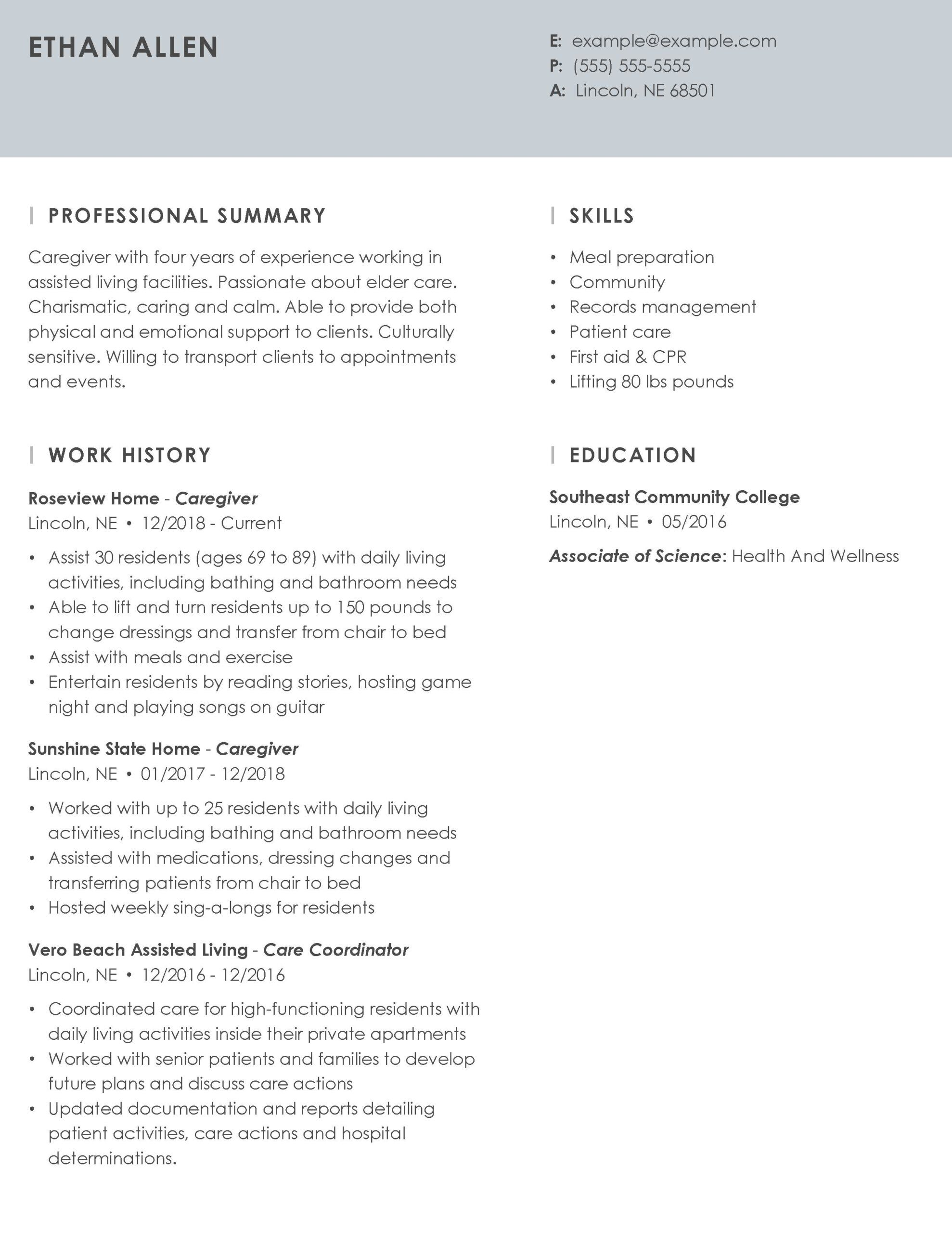 professional caregiver resume example tips myperfectresume profile about yourself essence Resume Resume Example Professional Profile About Yourself